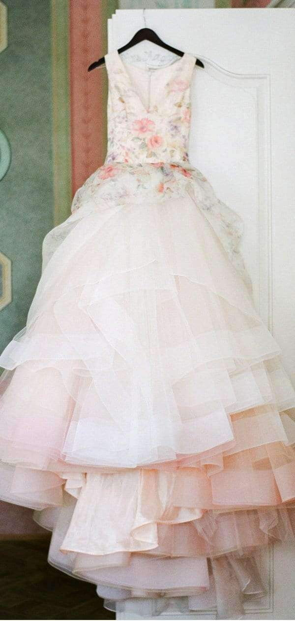 Light Pink Organza Floral Prints Ball Gown Spring Wedding Dresses, AB1527