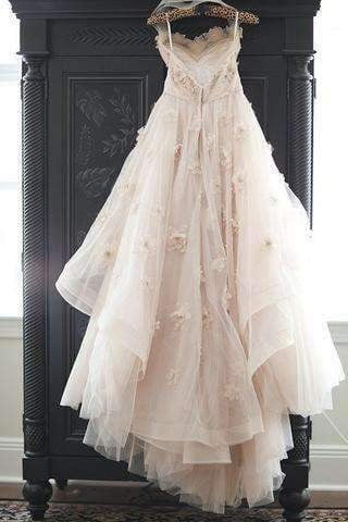 Light Pink Wedding Gowns,Princess Wedding Dresses With Flowers,Sweetheart Bridals Dress W25