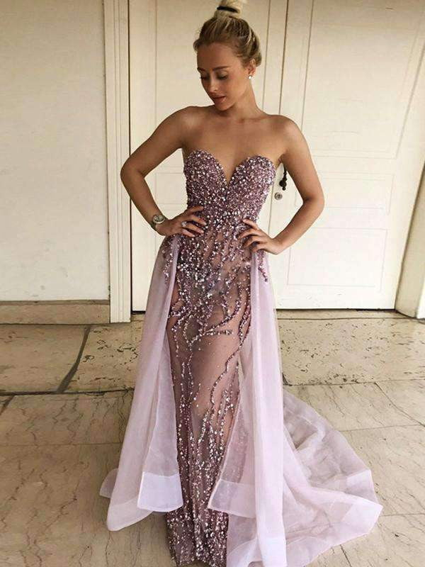Light Purple Bead Starpless Over-skirt Prom Dresses ,PD00138