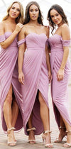 Light Purple Jersey Off Shoulder High Low Ankle Length Bridesmaid Dresses, AB4037