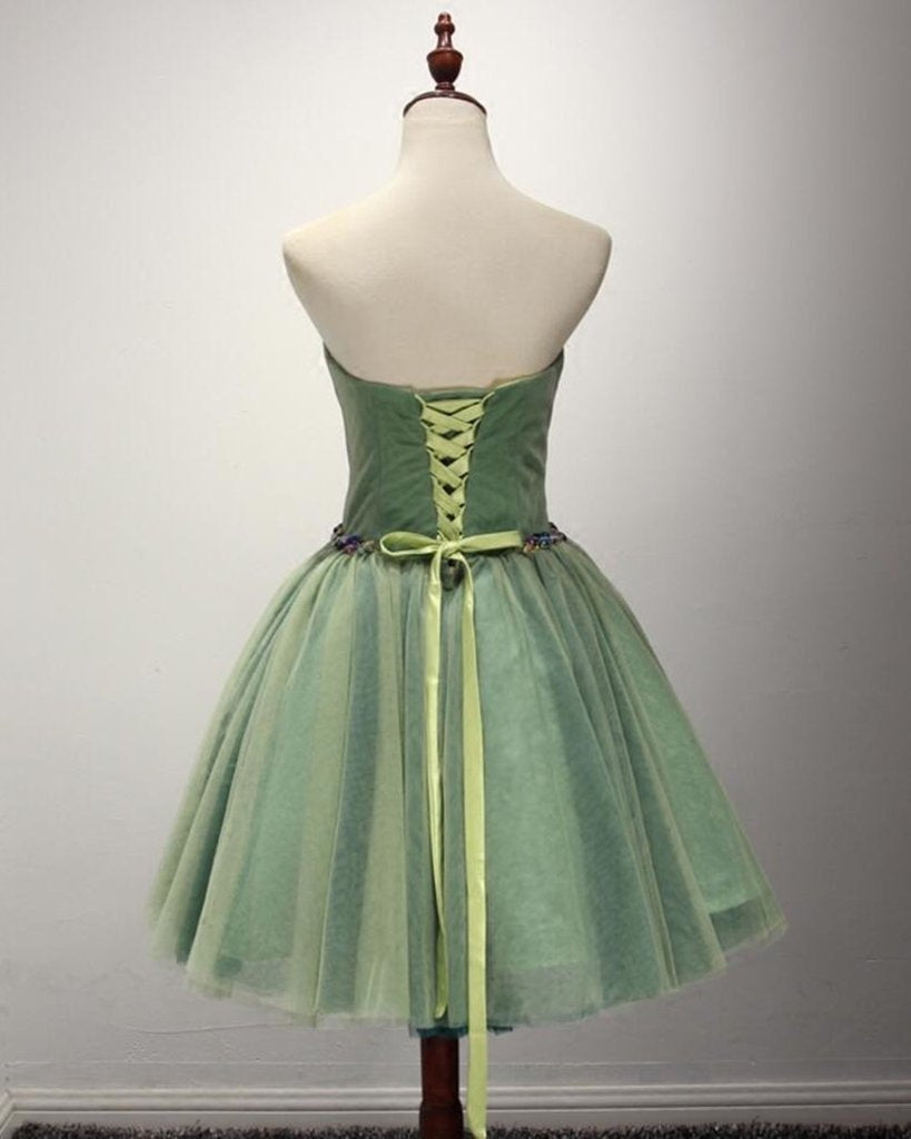Green Sweetheart Backless Tulle Short Dress Homecoming Dress With Beading,Knee Length Party Dress 2020