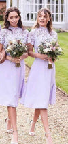 Lilac Chiffon Lace High Neck Short Sleeve Short Bridesmaid Dresses, AB4072