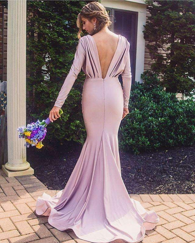 Lilac Long Sleeve V-neck Mermaid Bridesmaid Dresses, AB4056