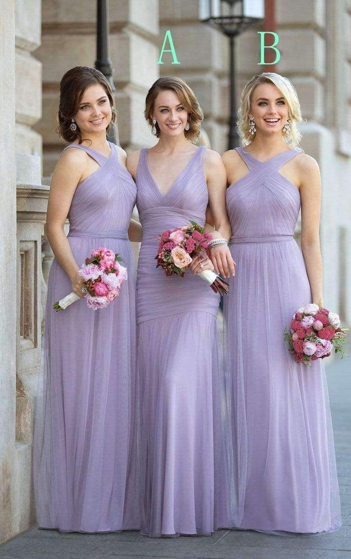 Lilac V Neck Sleeveless Empire A Line Tulle Long Bridesmaid Dresses