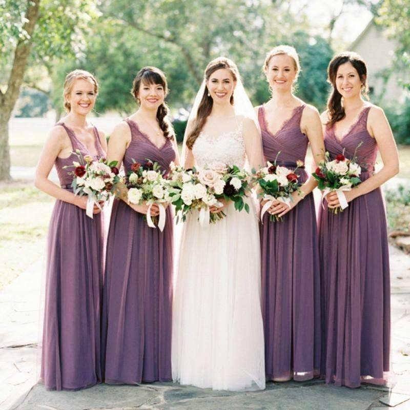 Long A-line  Purple Lace Chiffon V-neck  Wedding Party Guest Bridesmaid Dresses,  AB1154