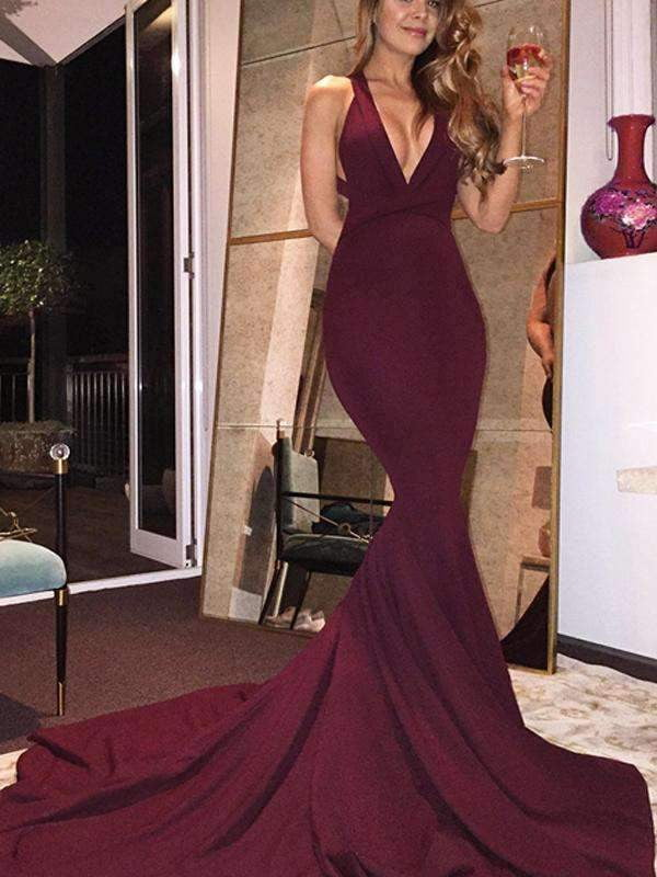Long Burgundy Mermaid Sexy Formal Evening Party Prom Dresses. PD0290