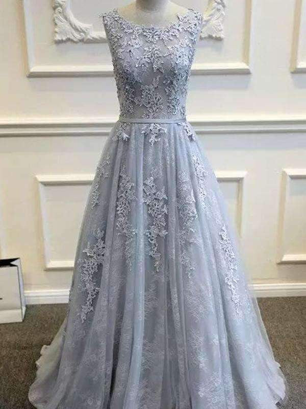 Long Custom Gray V-Back Scoop Tulle With Lace Appliques Party Prom Dresses,PD0083