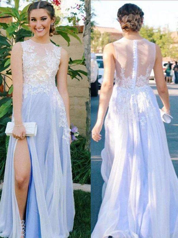 Long Custom See Through Side Slit Scoop A-line Evening Party Cocktail Prom Dresses Online,PD0132