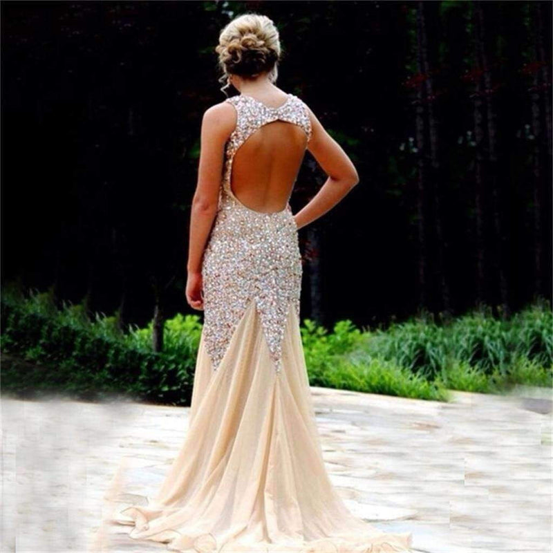 Long Custom Sparkle Open Back Rhinestone Mermaid Sexy  Prom Dresses,PD0037