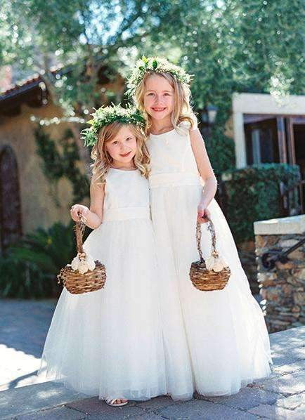 Long Ivory Simple Tulle Satin Flower Girl Dresses, FGS057
