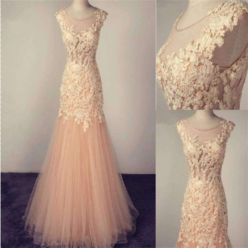 Long Pink Scoop Tulle With Lace Appliques Charming Popular Pretty Prom Dresses Online,PD0138