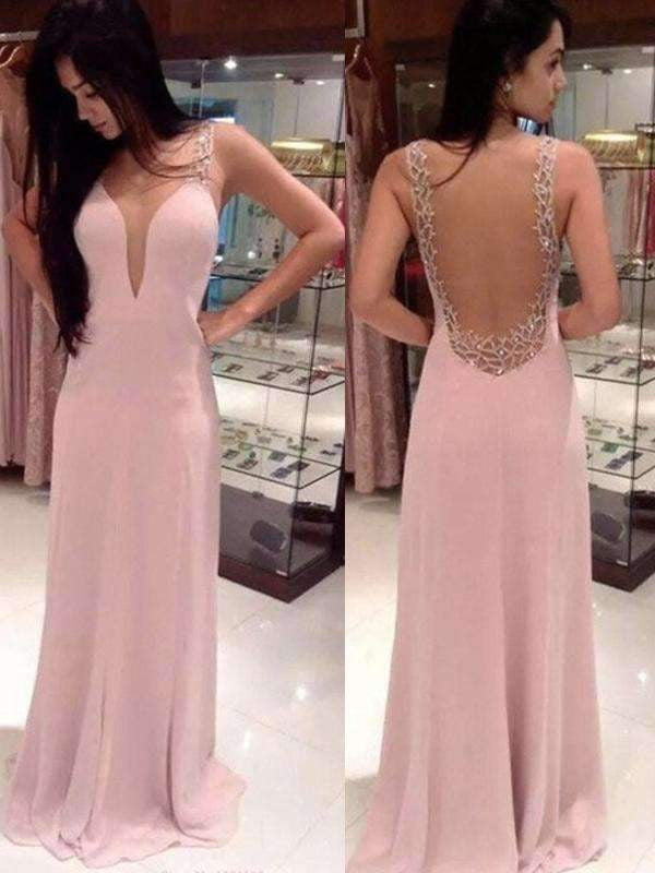 Long Pink V-neck Backless Pretty Evening party Prom Dresses,PD0076