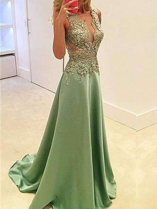 Long Popular Deep V-neck A-line Stunning Sexy Cocktail Ball Gown Party Prom Dress.PD0160