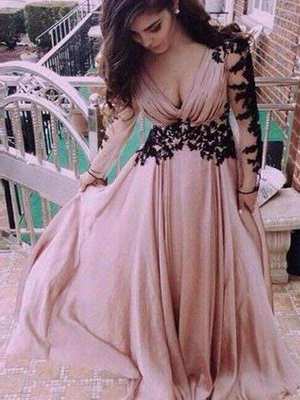 Long sleeve Dusty Pink V-neck Chiffon Open Back Lace Prom Dress ,PD0112