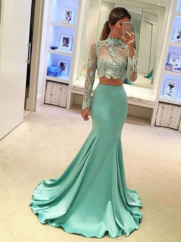 Long Sleeve Green Two pieces Mermaid Lace Sexy Prom Gown Dresses, PD0201