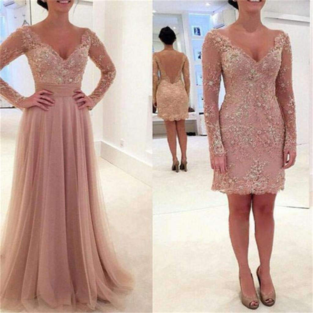 Long Sleeve Lace Tulle Pink Sexy V-neck Formal Prom Dresses,PD0034