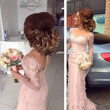 Long Sleeves 2019 Cheap Bridesmaid Dresses Mermaid Sweetheart Lace Beaded Long Wedding Party Dresses For Women
