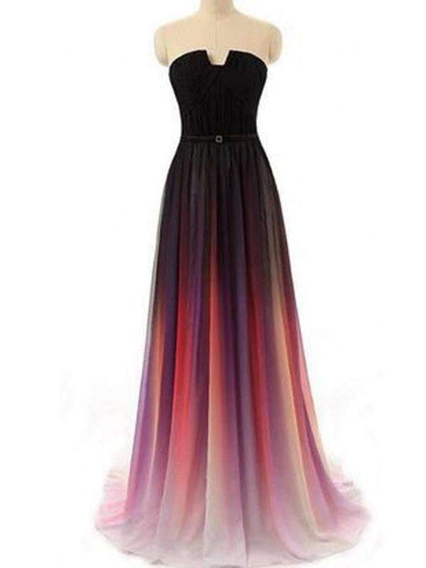 Long Strapless A-line Gradient Chiffon Simple Fashion Prom Dresses ,PD0111