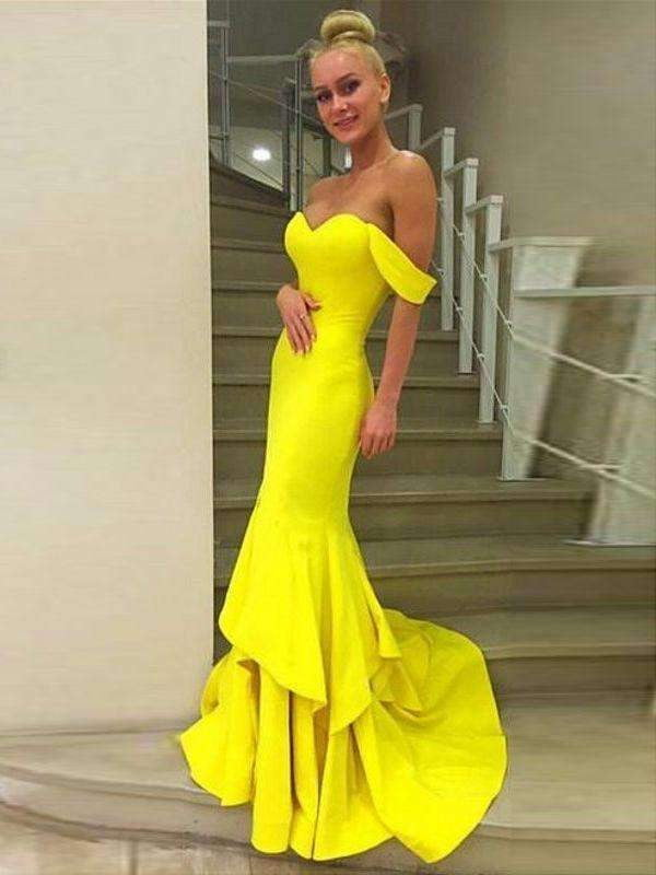 Long Yellow Mermaid Off Shoulder Sweetheart Evening Prom Dresses,PD0162