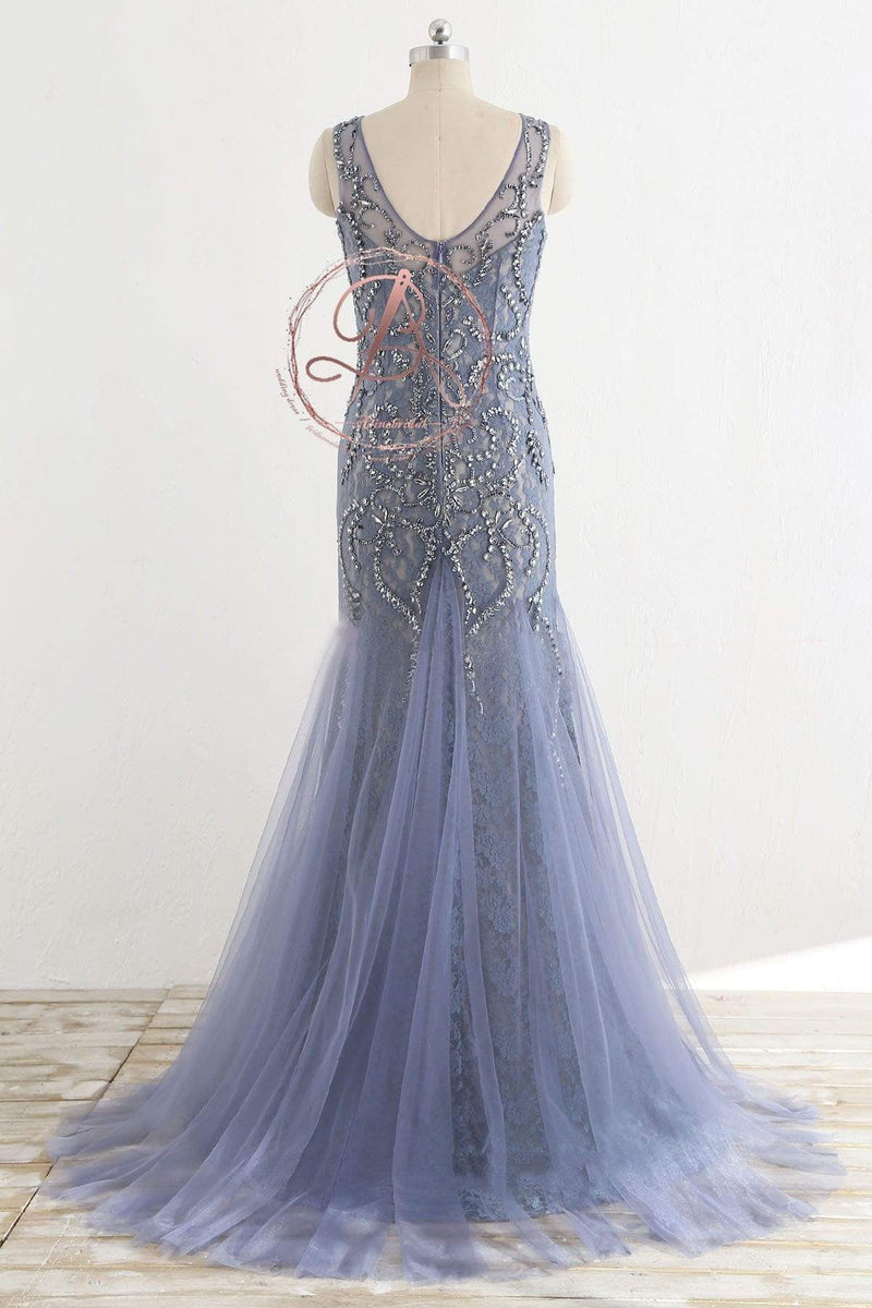 Stunning Lavender Tulle Beaded Lace Scoop Neck Sleeveless  Mermaid Prom Dresses,PD00064