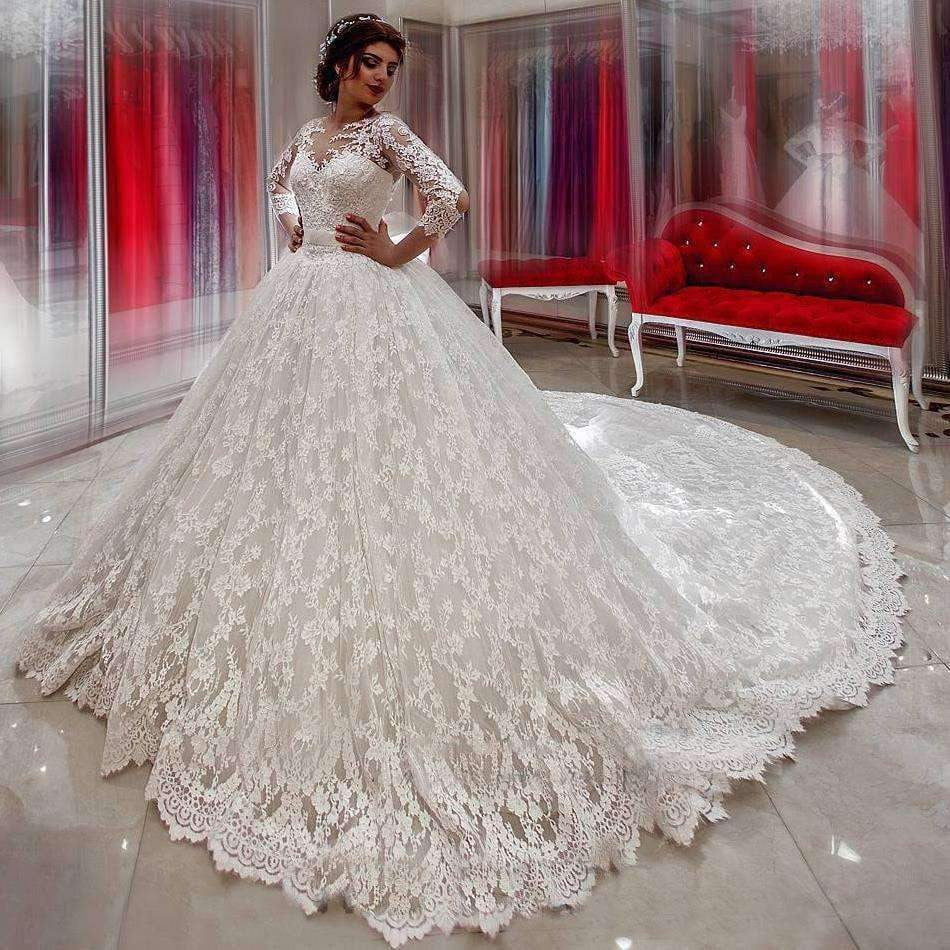 Luxury Long Sleeves Ball Gown Sweep Train Wedding Dress with Appliques W555