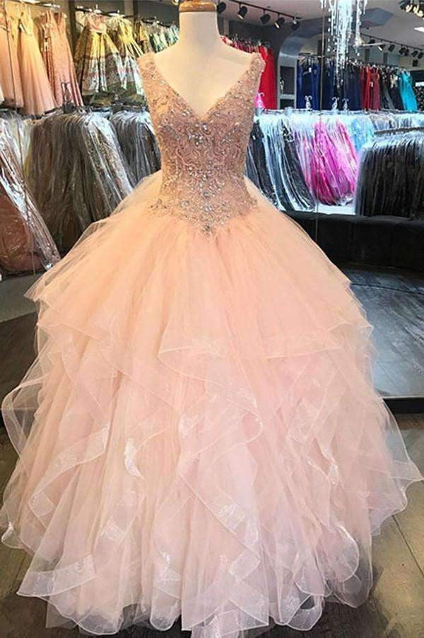 Luxury Ruffles Sequin Beads Wedding Dress,V-Neck Tulle Floor-Length Wedding Gowns OMW15