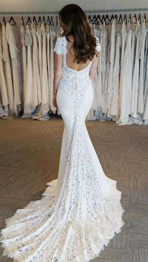 Luxury Short Sleeves Backless V Neck Mermaid Wedding Dress Sweep Train W552