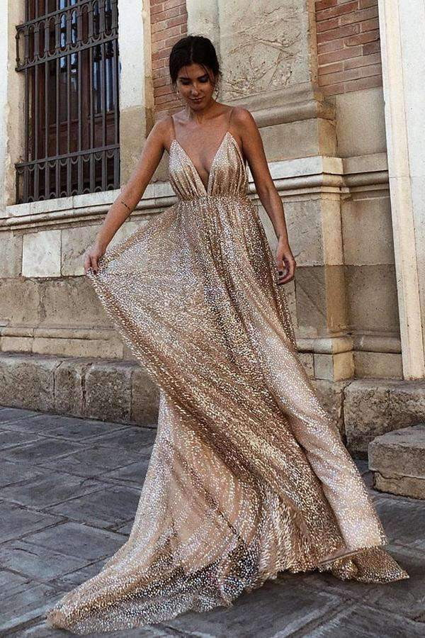 Luxury Spaghetti Straps Sweep Train V Neck Prom Dress with Sequins P889