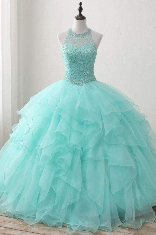 Mint Ball Gown Floor Length Halter Keyhole Back Beading Ruffles Prom Dress,Wedding Dress P99