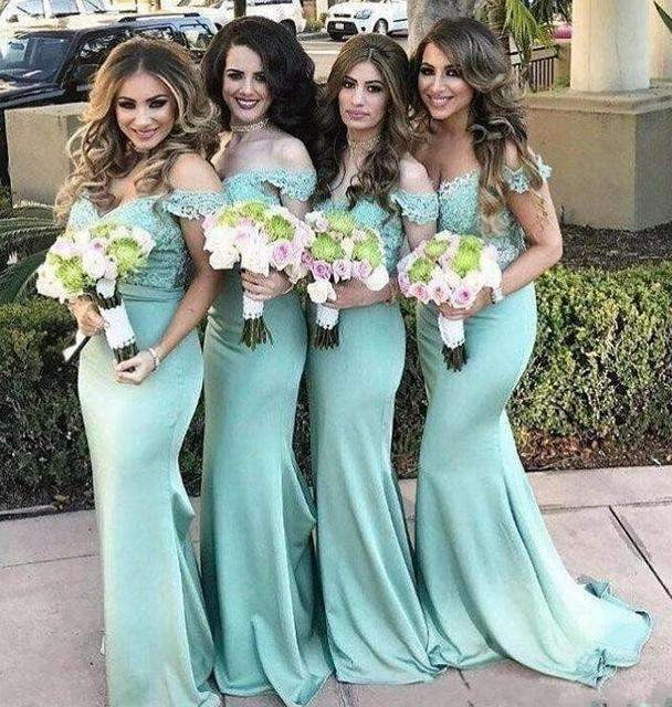 Mint Green 2019 Cheap Bridesmaid Dresses Under 50 Mermaid Off The Shoulder Long Wedding Party Dresses For Women
