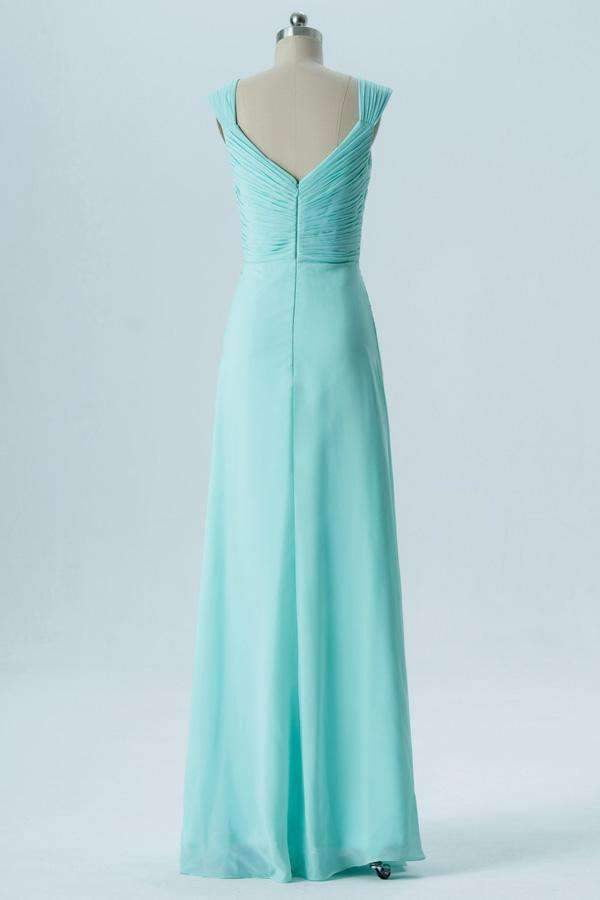Mint Green A Line Floor Length Sweetheart Sleeveless Open Back Bridesmaid Dresses B135