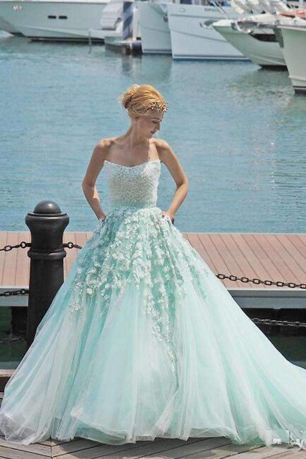Mint Green Ball Gown Court Train Sleeveless Appliques Beading Long Prom Dress,Party Dress P201