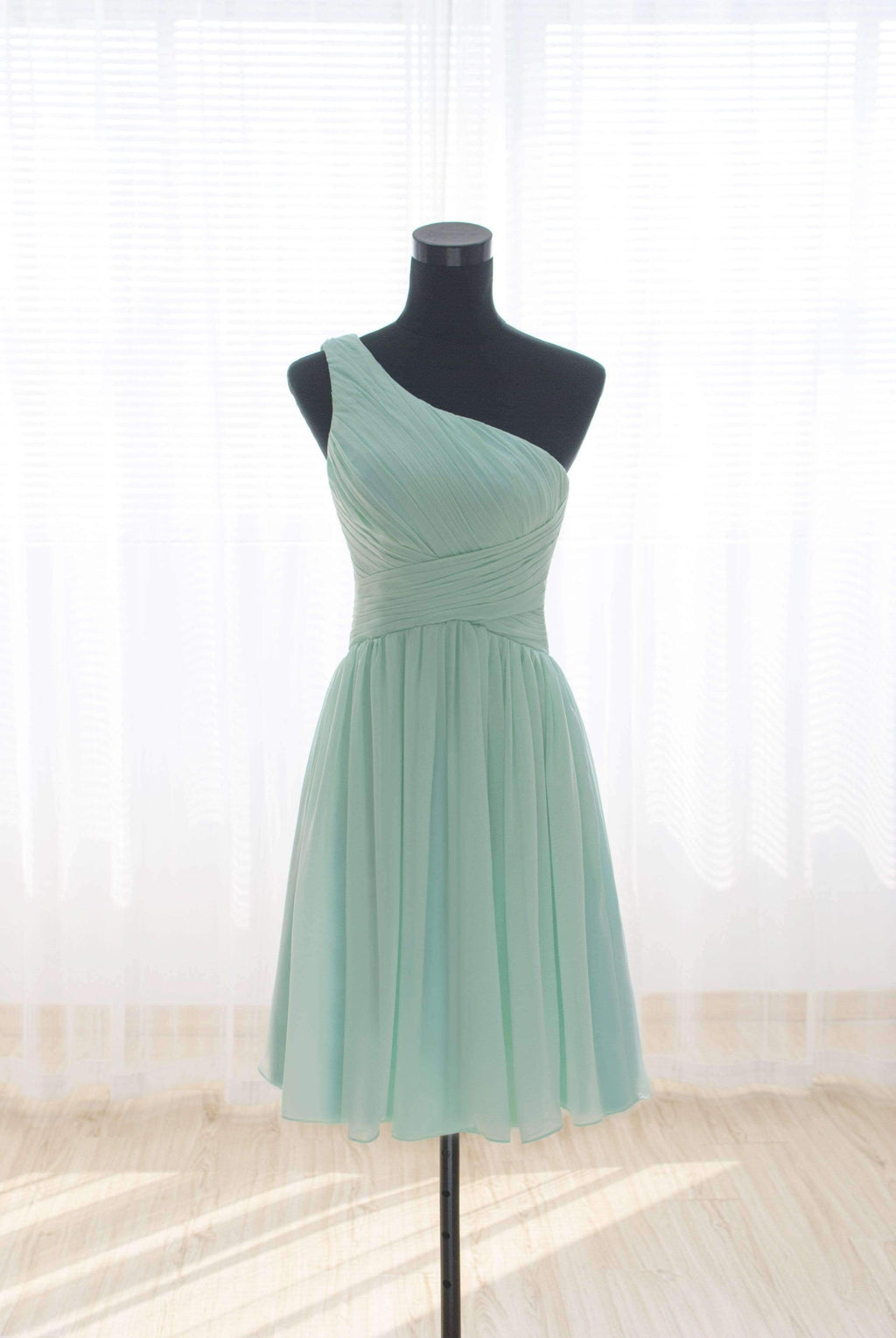 Mint Green One Shoulder Sleeveless Chiffon Bridesmaid Dresses Short Dresses