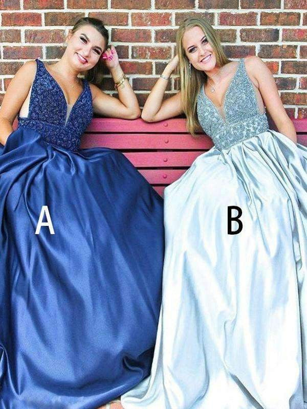 Mismatched Beading Satin Sleeveless Prom Dresses,PD00123