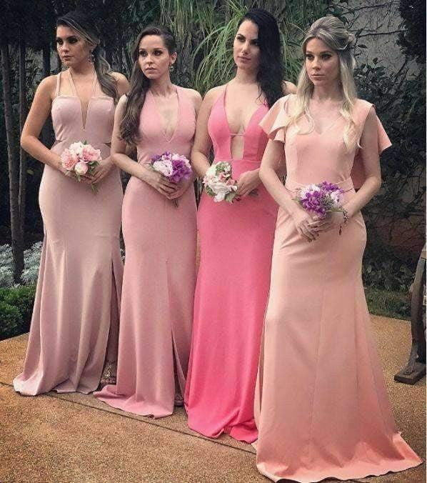 Mismatched Simple Charming Pink Long Bridesmaid Dresses , AB4041