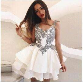 Multi Layers Appliques Cocktail Prom Graduation Birthday Party dresses