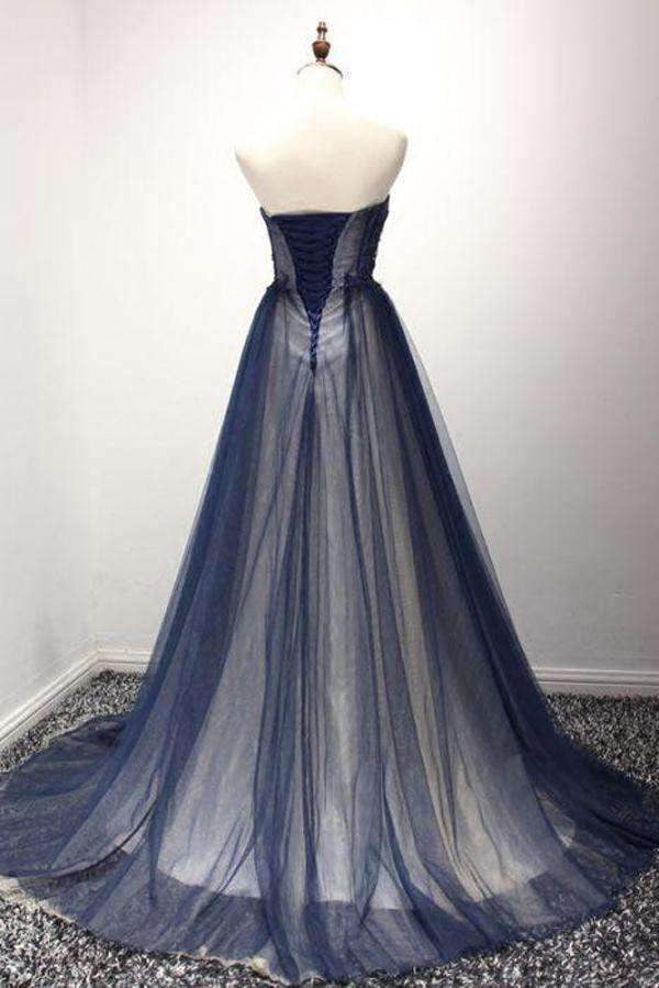 Navy A Line Sweep Train Straight Sleeveless Mid Back Lace Up Prom Dress,Party Dress P175