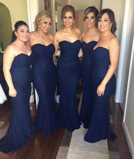 Navy Blue 2019 Cheap Bridesmaid Dresses Under 50 Mermaid Sweetheart Lace Backless Long Wedding Party Dresses For Women