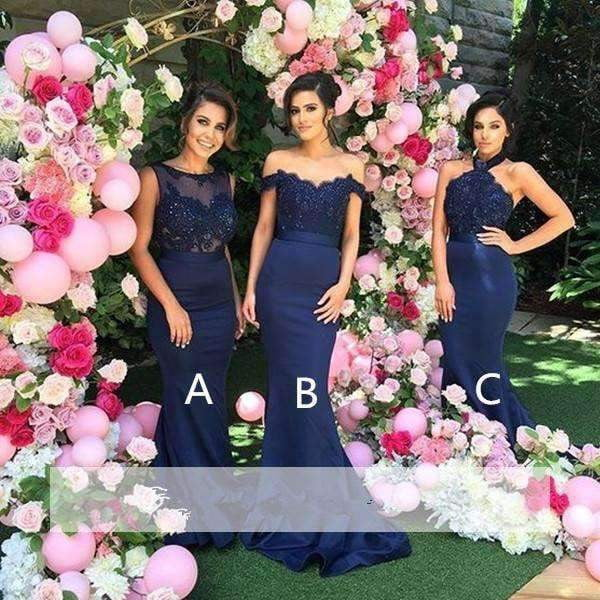 Navy Blue 2019 Mermaid Off The Shoulder Lace Beaded Long Wedding Bridesmaid Dresses