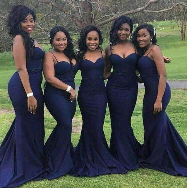 Navy Blue 2019 Mermaid Spaghetti Straps Satin Backless Long Wedding Bridesmaid Dresses