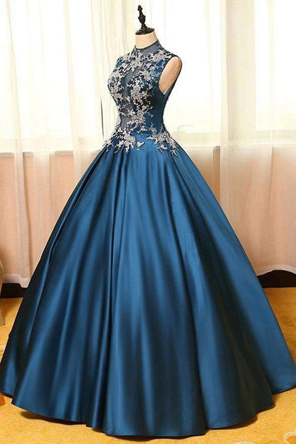 Navy Blue Ball Gown Floor Length High Neck Sleeveless Appliques Long Prom Dress,Party Dress P194