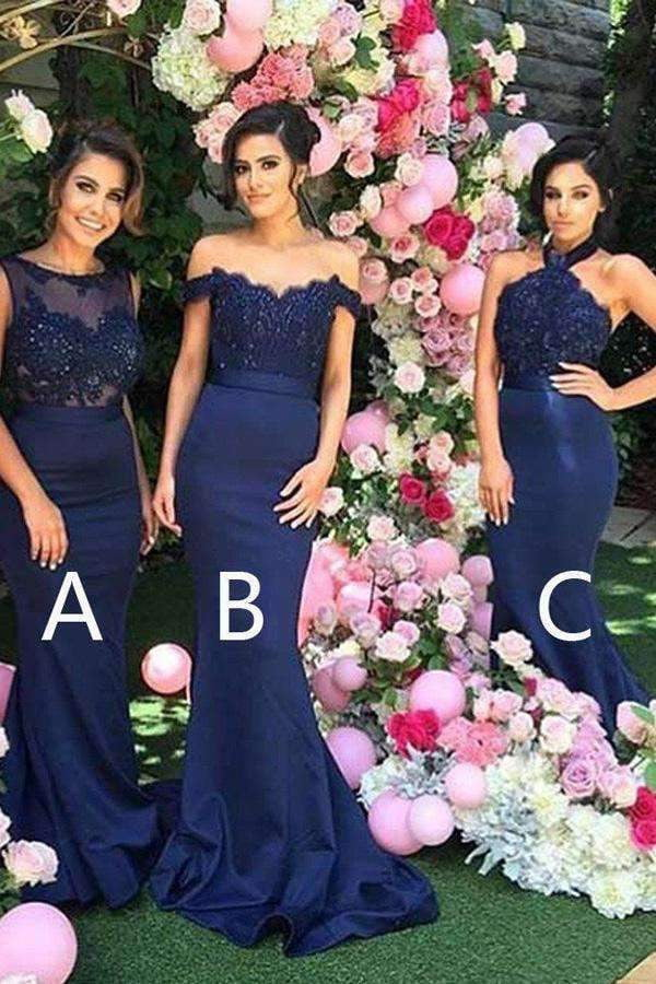 Navy Blue Mermaid Sweep Train Sleeveless Appliques Bridesmaid Dresses B262