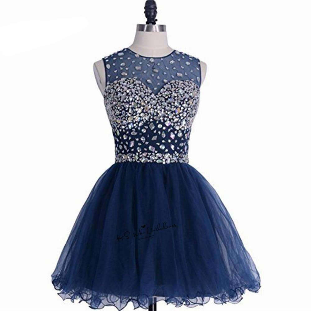 Navy Blue Modest Short Prom Dresses 2019 Above Knee Crystals Homecoming Dress