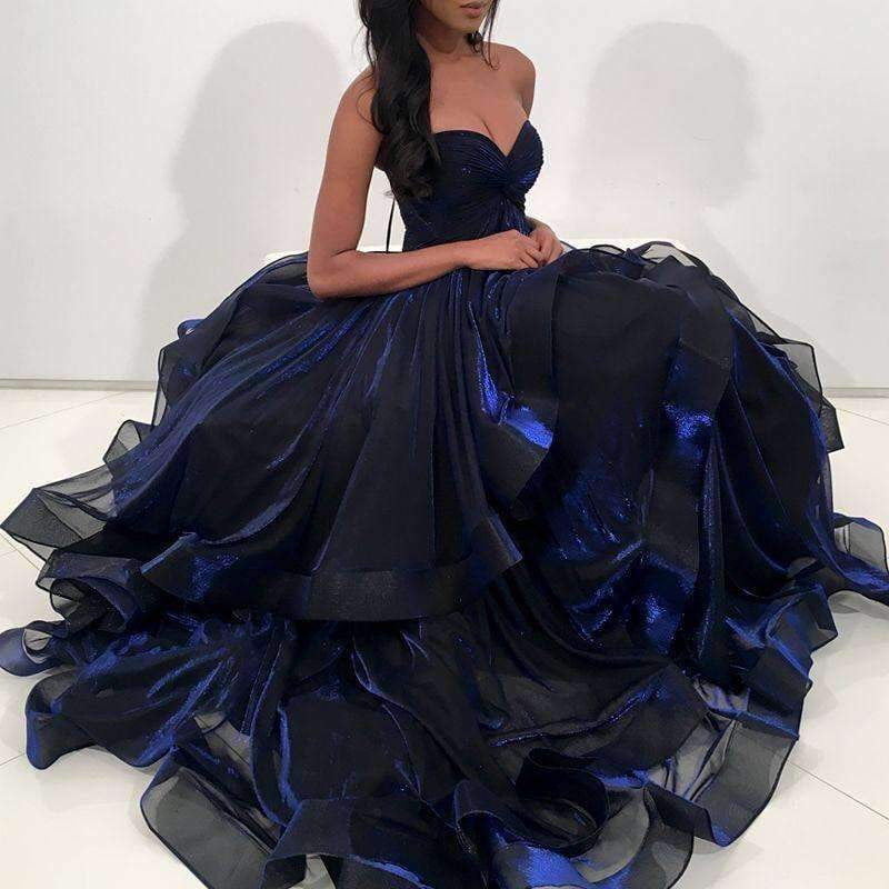 Navy Blue Organza Sweetheart Strapless Ball Gown Prom Gown Dresses ,PD00080