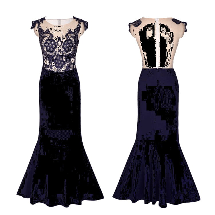 Navy Blue Sleeveless Lace Appliques Mermaid Satin Bridesmaid Dresses
