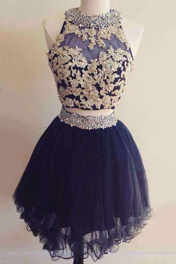 Navy Blue Two Pieces Halter Appliques Lace Up Beading Homecoming Dresses M309