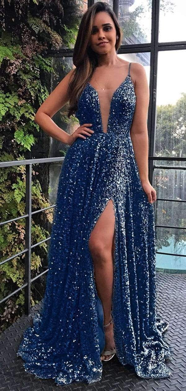 Navy Sequin Simple Spaghetti Strap Silt Prom Dresses,PD00209
