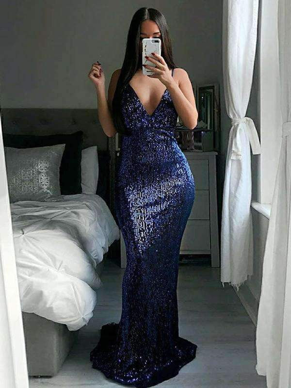 Navy Sequin Spaghetti Strap Mermaid Prom Dresses ,PD00120