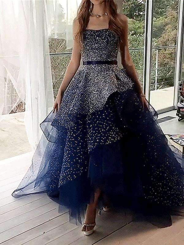 Navy Tulle Silver Beading Sequin Ball Gown Prom Dresses.PD00224