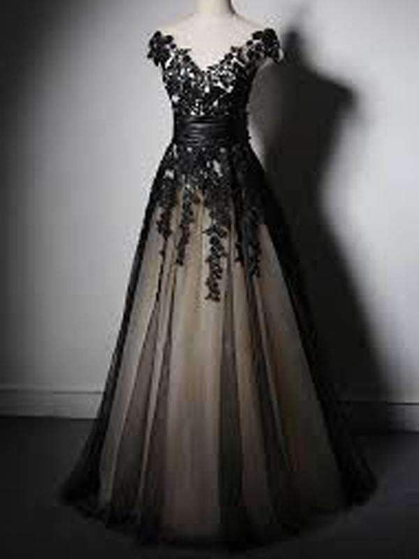 New Fashion Cap Sleeve With Black Lace Elegant Formal Party Prom Dresses. PD00260